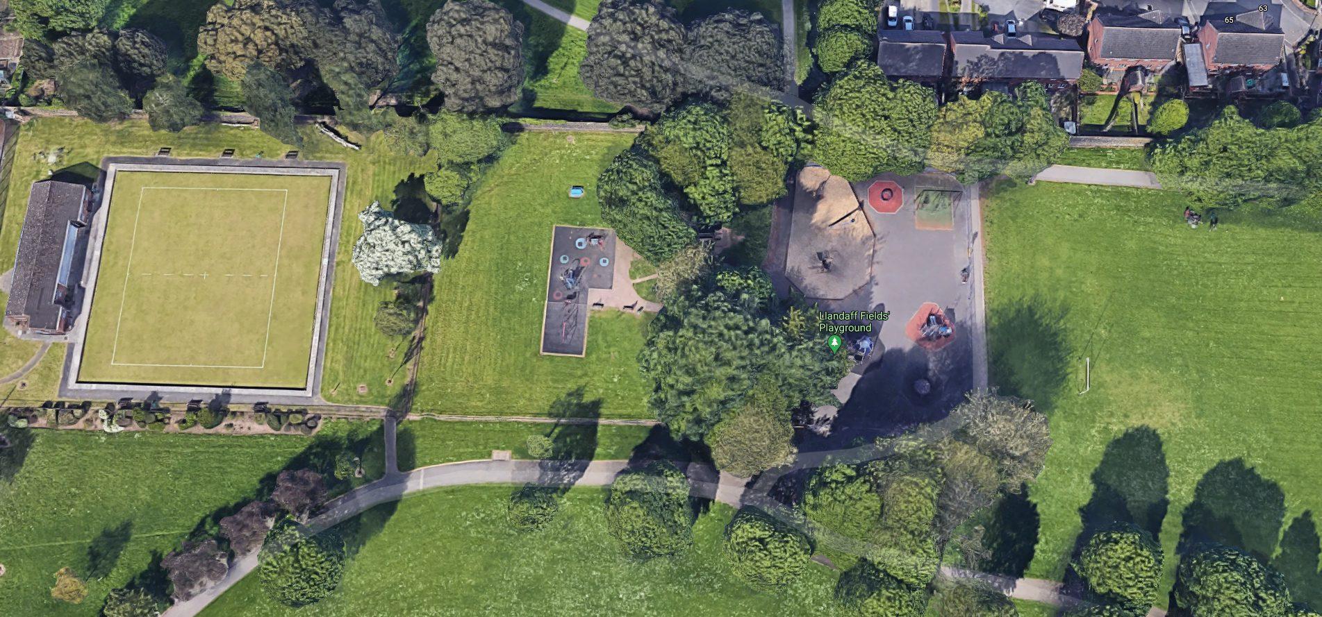 Birds eye view of Llandaff Fields play area